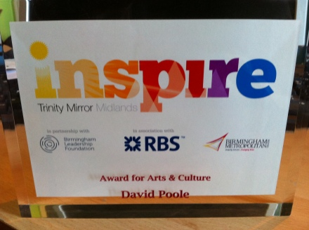Inspire Birmingham 2014 Award for Arts & Culture (David Poole)